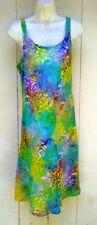 Batik Bali tank top sun dress rainbow aqua green floral slip on flare skirt M