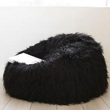 Ivory & Deene Black Shaggy Fur Bean Bag Soft Luxury Cloud Chair With Beans