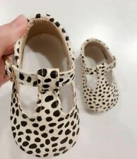 Baby Girls Leather Leopard Shoes Soft Sole First Walkers T- Bar Baby Moccasins