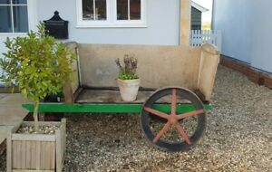 "Display / Retail /Market Cart with 3 original cast iron wheels 2x28"" 1x17"""