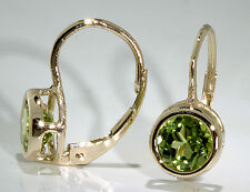 14k Yellow Gold Earrings Bezel Set Round AAA Peridot