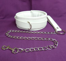 White Padded  Lockable Collar & Leash CO-24-WHI, FREE UK DELIVERY