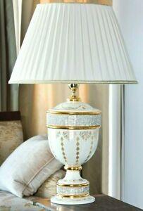 Lampada da tavolo in maiolica italiana Lume ceramica artistica oro 24 Swarovski