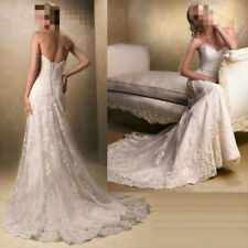 2020 New White/Ivory Lace Wedding Dress Bridal Gown Stock Size 4 6 8 10 12 14 16