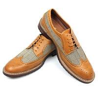 New Men's Brown Tan Ferro Aldo Checkered Plaid Shoes Wing Tip Brogue NEW 19312A