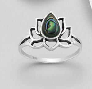 Silber Ring Abalone Paua Muschel Lotusblüte 925 Sterlingsilber Yoga Lotus S39