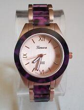Women's Rose Gold/Purple Finish Geneva Bracelet Boyfriend Fashion Watch