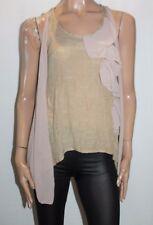 FILO Designer Taupe Chiffon Frill Sleeveless Top Size 8 BNWT #TC17