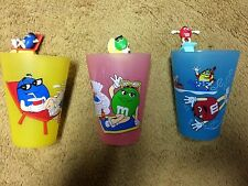Rare M&M's World 3 Plastic Cup Glass Lot Set - Green, Red, Blue
