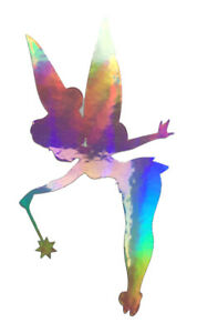 Window Wall Wine Glass Holographic Tinkerbell Fairy Vinyl Sticker Silver