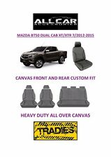 Canvas Car Seat Covers Front&Rear Custom Fit Mazda BT50 Dual Cab 2012-15