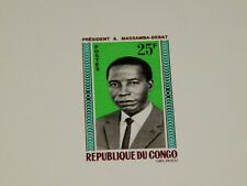 Vintage Stamp Card, REPUBLIC OF CONGO, Colored Die Proof Card, 1966, President