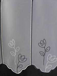 Scheibengardine nach Maß Gardine Bistrogardine 660 45cm hoch schwarz weiß