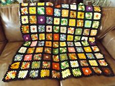 """Antique Hand Crocheted Granny Square Afghan 40 """"x 47"""" with Black Edging"""