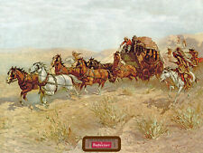 BUDWEISER-ATTACK ON THE OVERLAND STAGE- ADVERTISING POSTER
