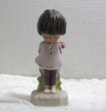 Vintage Moppets 1971 Fran Mar Figurine Girl Standing Holding a Rose Behind Back
