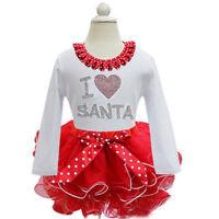 Children Girls Christmas Party Holiday Birthday I Love Santa Fancy Dress ZG8