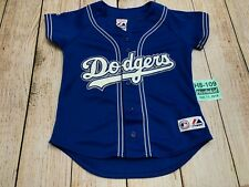 VINTAGE AUTHENTIC MAJESTIC LA DODGERS MLB SEWN Boys YOUTH JERSEY Large L 4-5 USA