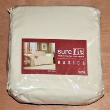 """Surefit Sofa Slipcover 100% Cotton Duck Natural Ivory NIP Fits 74"""" to 96"""""""