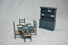 "Dollhouse Miniature 1:12,1"" Furniture Kitchen Table, Chairs, Hutch & Accessories"