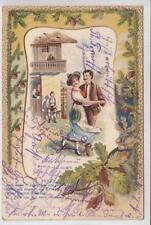 AK Bayr. Bauernhaus, Paar in Tracht, Präge-Litho, Lied 1901
