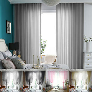 Voile Curtains Chiffon Tulle Drapes Floor Window Screening Yarn Panels Eyelets