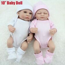 "10"" Preemie Bebes Reborn Twins Boy And Girl A Pair Of Vinyl Baby Dolls Mini Bath"