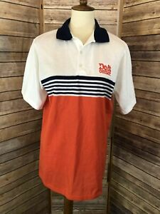 VTG Home Depot Do It Center Lion Striped Polo Shirt Short Slv Sz M