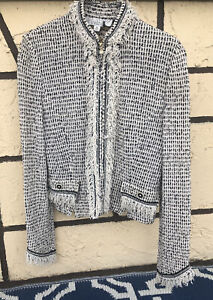 St. John Collection by Marie Gray  2fringe zipper up jacket. Black N White