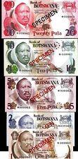 BOTSWANA 1 2 5 10 20 PULA P1 2 3 4 5 1979 SET BIRD UNC SPECIMEN ANIMAL BANK NOTE