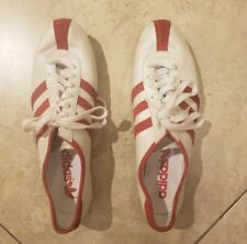 Adidas OKAPI sneakers women size 9 US white pearl leather/red suede