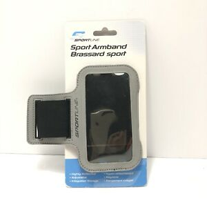 SPORTLINE SPORT ARMBAND GRAY BLACK LARGE for iPhone SAMSUNG Most Smartphones