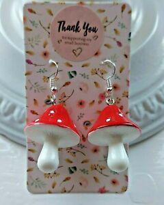Cute Retro Resin Mushroom Toadstool Earrings Silver Plated Earring Hooks
