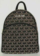 New Michael Kors Abbey MK Signature Jacquard Medium Backpack Beige / Black