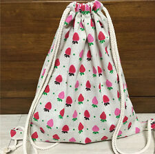 Cotton Linen Drawstring Travel Backpack Student Book Bag Strawberry 705f S