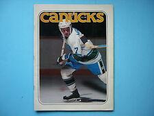 1977/78 VANCOUVER CANUCKS VS NEW YORK RANGERS PROGRAM PHIL ESPOSITO PIT MARTIN