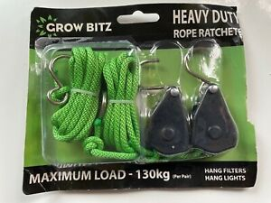 Grow Bitz 130KG Heavy Duty Rope Ratchets Hydroponics lighting filters etc NEW