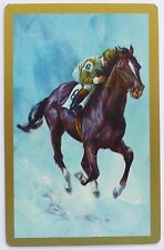 VINTAGE SWAP CARD. RACE HORSE No.6 GALLOPING WITH JOCKEY. GILT EDGE ARRCO. MINT