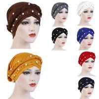 Muslim Women Hijab Turban Hat Lady Pearl Bonnet Cancer Chemo Cap Head Wrap