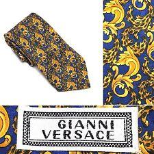 Gianni Versace Gold Blue Handmade Silk Vintage Baroque Animal Print Tie T1-31