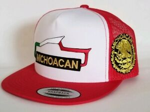 MICHOACAN  MEXICO HAT  MESH TRUCKER WHITE RED   SNAP BACK ADJUSTABLE NEW