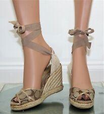 fffceffa02 COACH Women's Open Toe Ankle Lace Wedge Heel Espadrille Shoes - Size 7 B