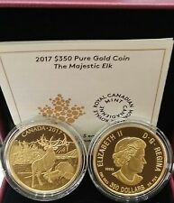 0.99999 Pure Gold Proof Coin Canada $350 2017 Majestic Elk 35grams 34mm diameter