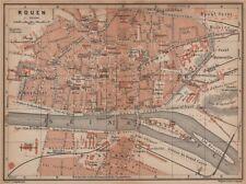 Rouen antique ville city plan de la ville. seine-maritime carte 1899 old map