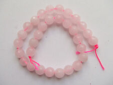 1filo /31pz di perline pietre in quarzo rosa  sfaccettate 6mm bijoux
