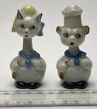 Pair of REALLY Unusual Vintage Nodding Cat Chefs - circa 1930's. Cute!!