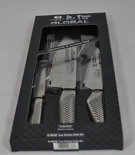 Global G-48338 3 Piece Knife Set: Hollow Ground Santoku, Utility and Paring