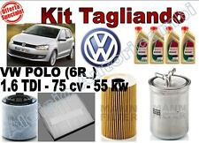 KIT TAGLIANDO OLIO CASTROL EDGE 5W30 + FILTRI VW POLO (6R_) 1.6 TDI 55 KW 75 CV*