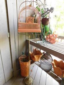 ANTIQUE deco brass gold floor STAND  orange vintage CROWN BIRD CAGE attic stored