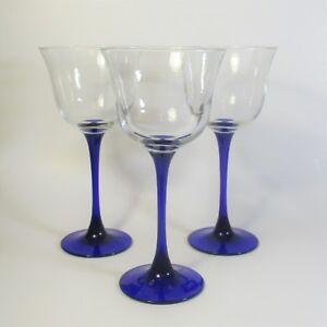 Luminarc AMERICANA BLUE Water Goblets Set of 3 Glass Goblet Glasses Cobalt Stem